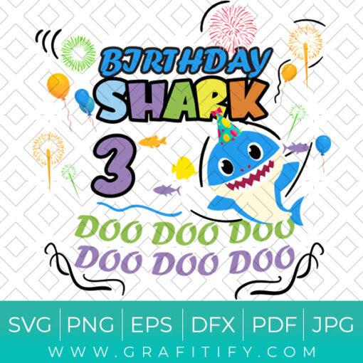 baby shark 3th birthday SVG