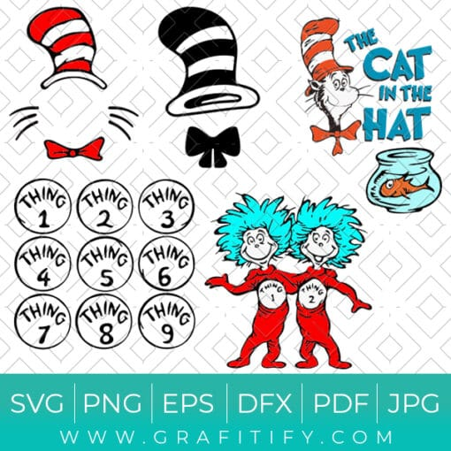The Cat in the Hat Craft Design SVG