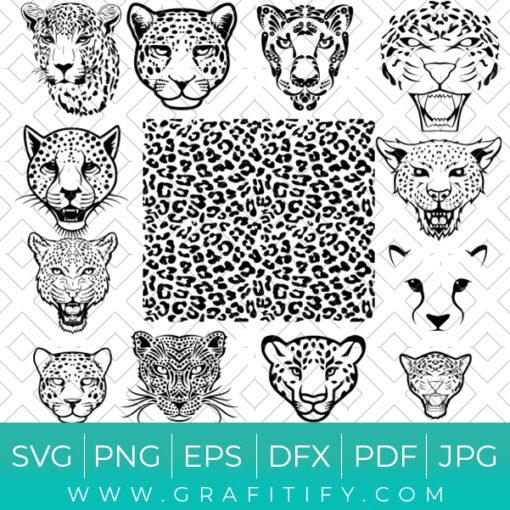 Leopard Face & Skin SVG