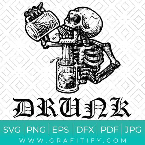 Drunk Skull SVG