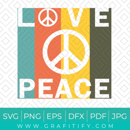 Love And Peace Vintage SVG