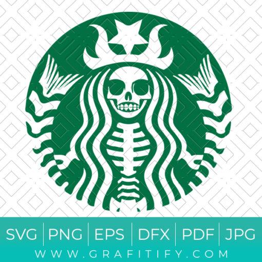 Skeleton Starbucks logo Funny SVG