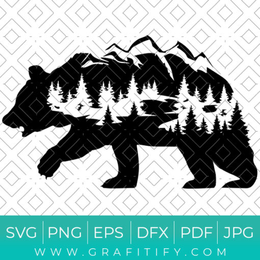 Bear and Mountains Adventure SVG