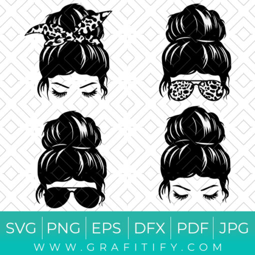 Messy Hair Bun SVG