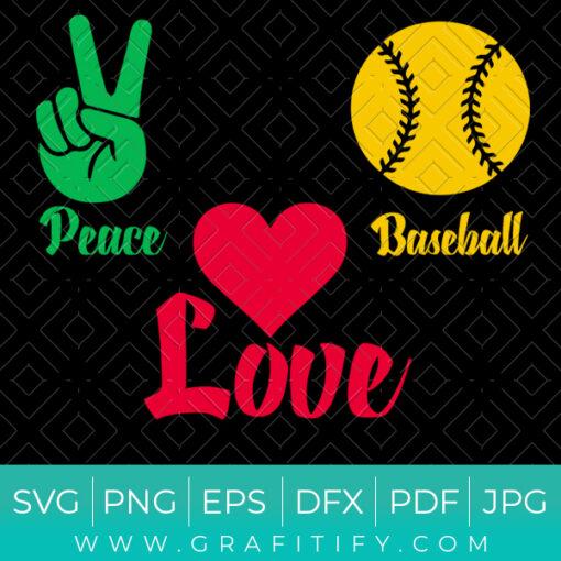 Peace Love Baseball SVG