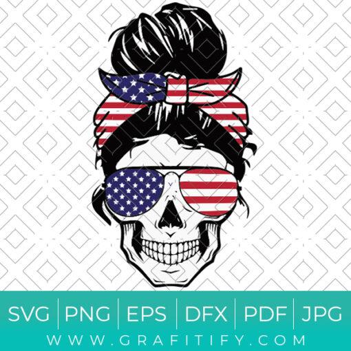 America Messy Bun Skeleton Svg