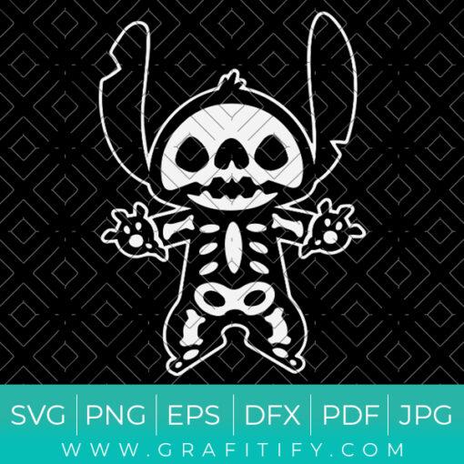 Stitch halloween skeleton SVG