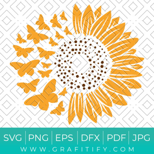 Sunflower with Butterfly SVG