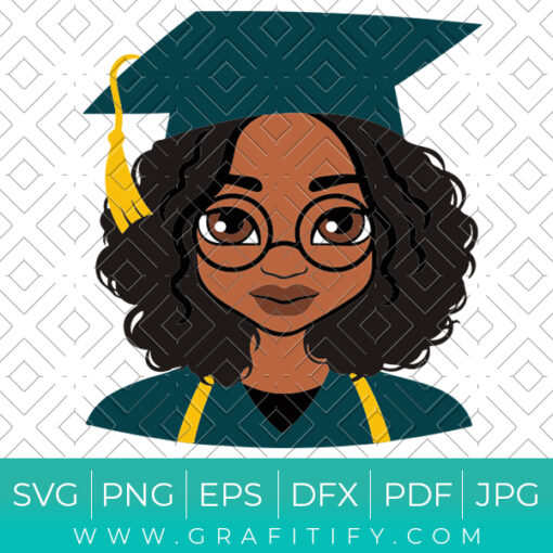 Black Woman Graduation Svg