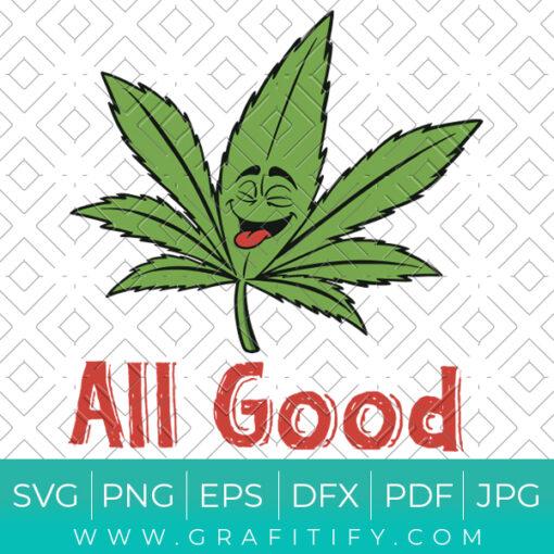 Happy Marijuana Leaf Svg