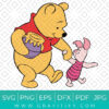 Winnie The Pooh And Piglet With Honey SVG
