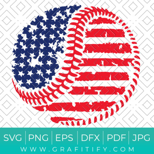 Baseball Stretches Us Flag Svg
