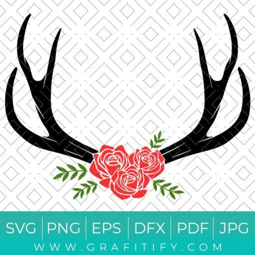 Floral Deer Antlers Svg