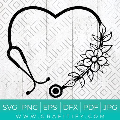 Floral Stethoscope Svg