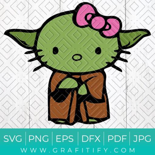 Baby Yoda Hello Kitty Svg
