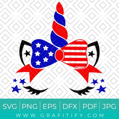 Unicorn 4th Of July Svg