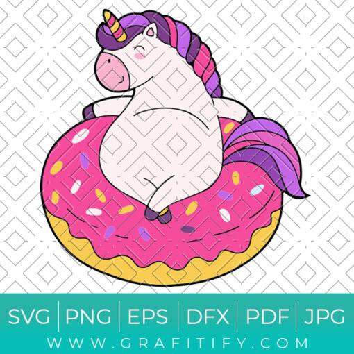 Lazy Unicorn Donut Lover Svg