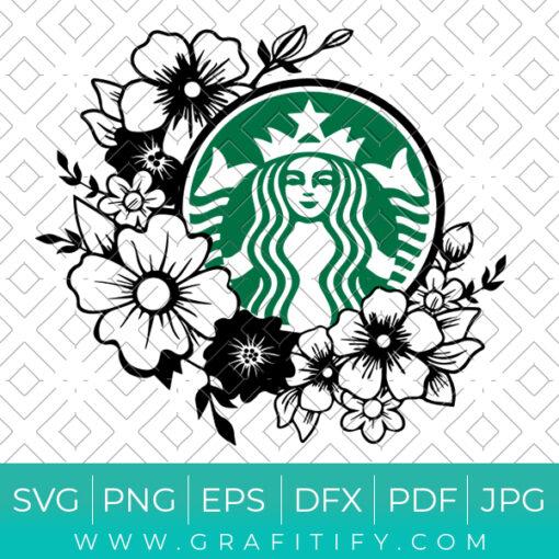 Floral Starbucks Svg