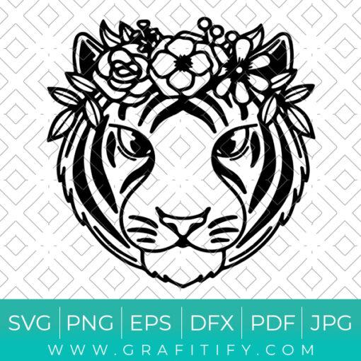 Floral Tiger Svg