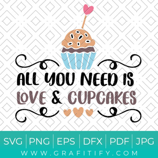 All You Need Is Love And Cupcakes Svg