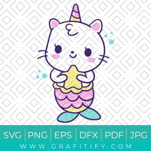 Funny Cat Mermaid Svg