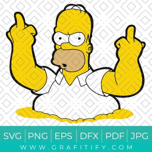 Homer Simpson Middle Finger Svg
