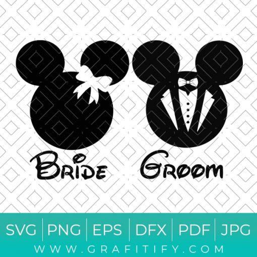 Mickey Bride and Room Svg