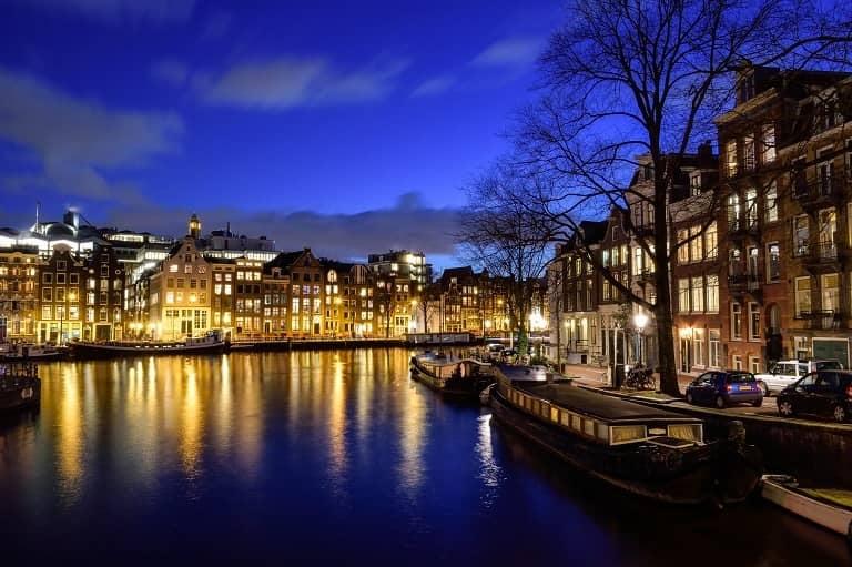 free stock photo city on river
