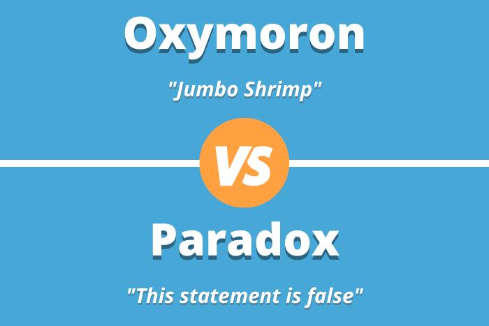 "Oxymoron: ""Jumbo Shrimp"" vs Paradox ""This statement is false"""